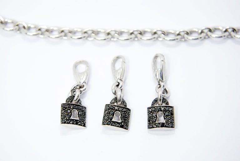 Crivelli Charm Bracelet in 18 Karat White Gold and White and Black Diamonds For Sale 3