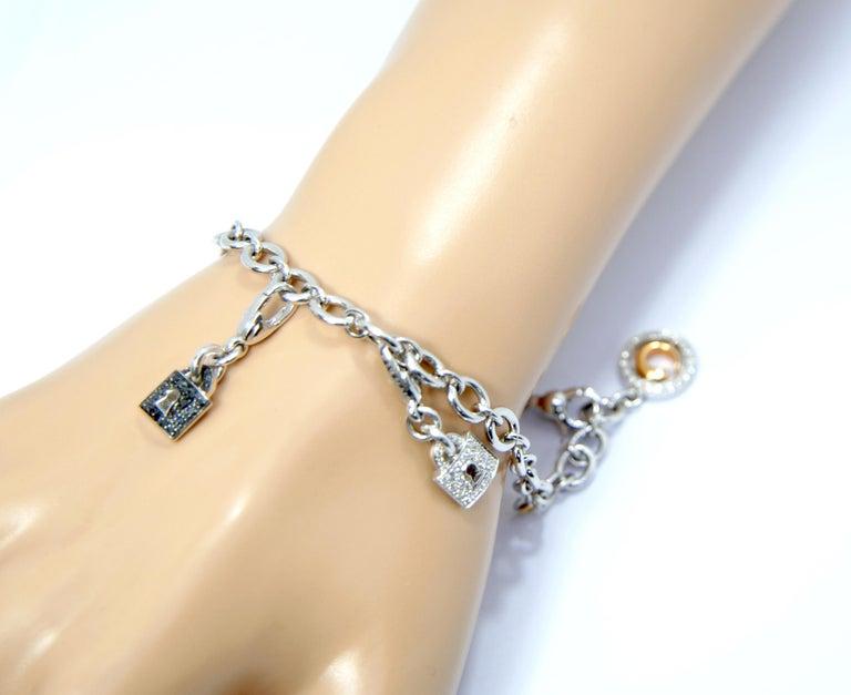 Crivelli Charm Bracelet in 18 Karat White Gold and White and Black Diamonds For Sale 4