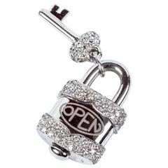 Crivelli Charm Link Lock Pendant or Closure 18 Karat Gold Diamonds Open Close