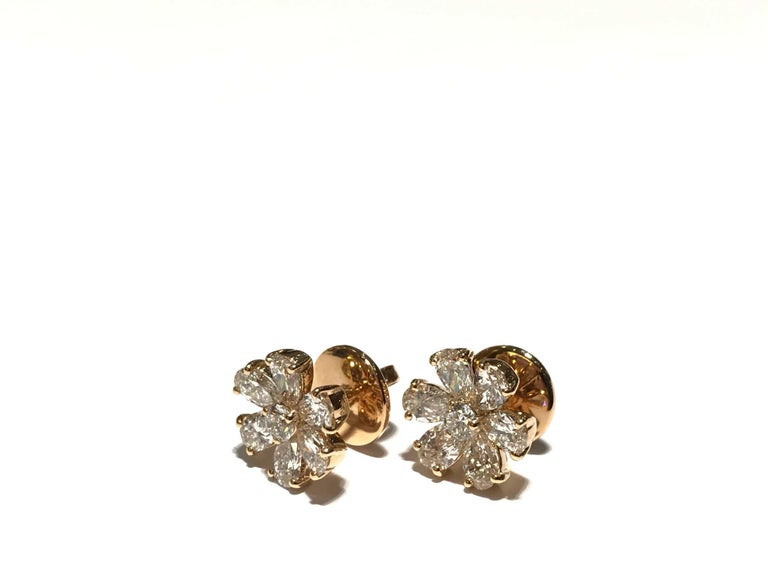 Crivelli Flower diamond Earrings set in 18k pink gold with white diamonds diamonds 2.00 carat VS clarity EF colour  12 pear shape 2 round shape in the center