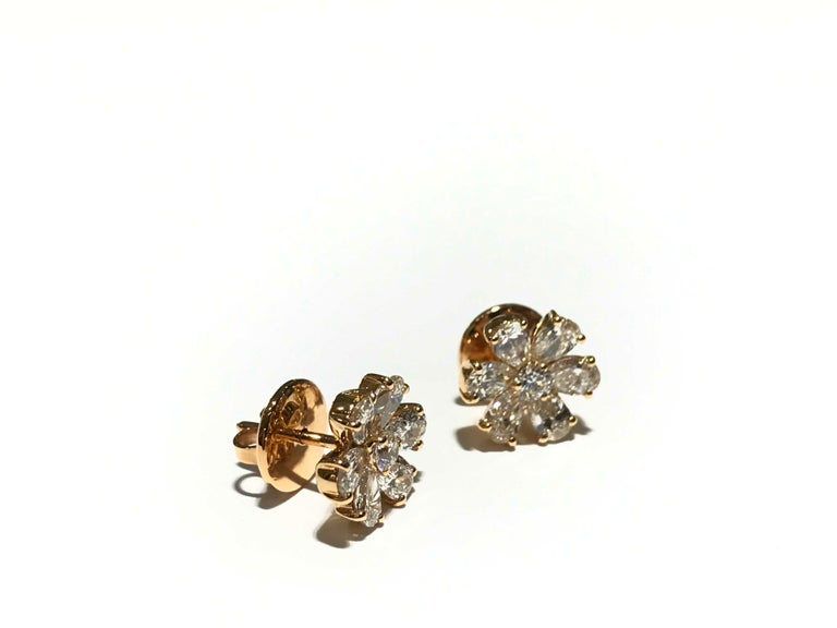 Pear Cut Crivelli Flower Diamond Earrings Set in 18 Karat Pink Gold with White Diamonds For Sale
