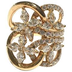 Crivelli Italienischer Diamant Ring mit Marquise und Runden Diamanten 18 Karat Weißgold