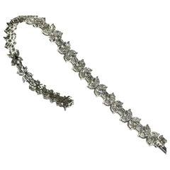 Crivelli italian made diamond tennis bracelet marquise and round diamonds 18kt