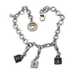 Crivelli Lock Charm Bracelet in 18 Karat White Gold and White and Black Diamonds