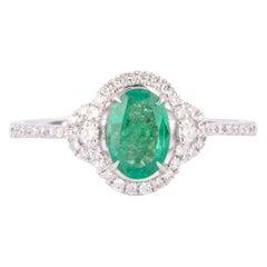 Crivelli White Gold, Emerald and Diamonds Ring