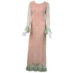 Crochet Maxi Dress Pastel Rainbow Vintage 1970s