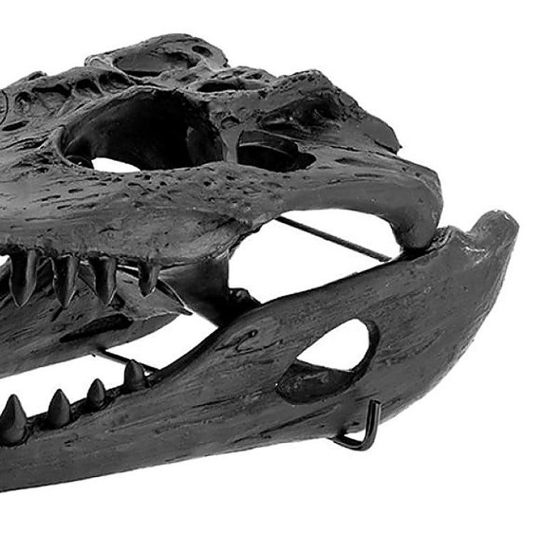 Contemporary Croco Skull Sculpture in Black Finish For Sale