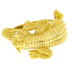 Crocodile Alligator Yellow Gold and Diamond Bangle Bracelet