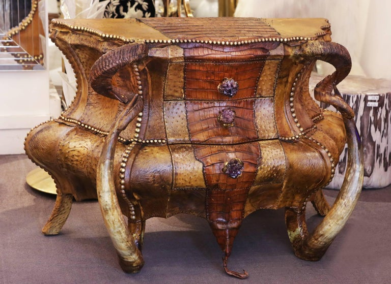 Hand-Crafted Crocodile and Amethyst Chest of Drawers For Sale