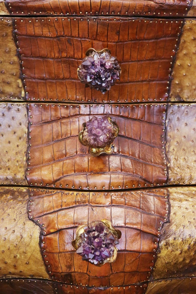 Bronze Crocodile and Amethyst Chest of Drawers For Sale