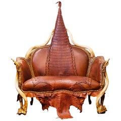 Crocodile Brown Sofa with Real Nile Crocodile Skin and Natural Horns