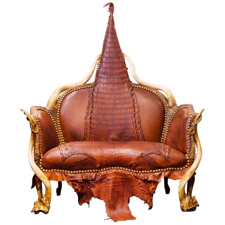 64649fb99f Crocodile Brown Sofa with Real Nile Crocodile Skin and Natural Horns For  Sale