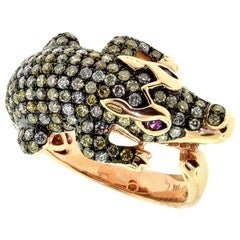 Crocodile Diamond and Ruby in Rose Gold Studded Ring