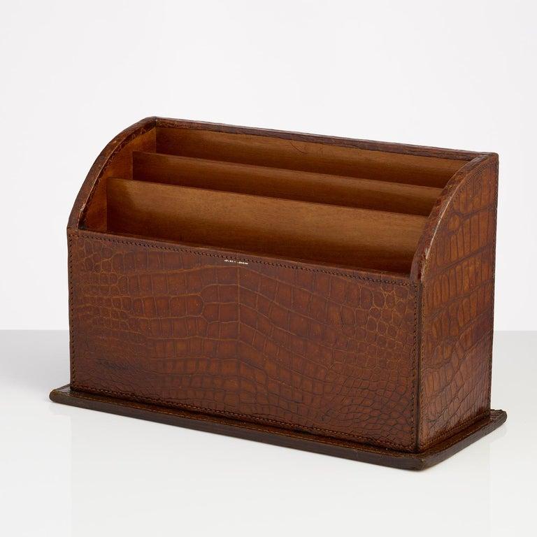 English Crocodile Stationary Desk Piece Made by Asprey, circa 1910-1915 For Sale