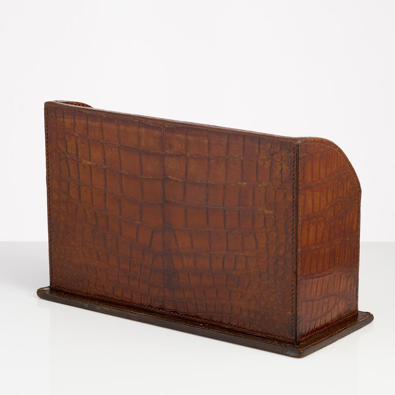 Crocodile Stationary Desk Piece Made by Asprey, circa 1910-1915 In Excellent Condition For Sale In London, GB