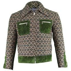 Crocodile Men's Vintage 1970s Woven Tapestry Jacket with Green Velvet Trim