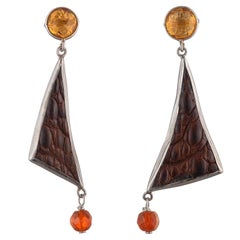 Crocodile Skin Triangle Earrings, Citrine and Fire Opal Set in Sterling Silver