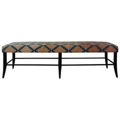Croft Bench in Vintage Textile Upholstery