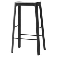 Crofton Bar Stool with Black Stained Pinewood Frame by Daniel Schofield