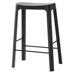 Crofton Counter Stool with Black Stained Pinewood Frame by Daniel Schofield