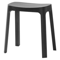 Crofton Stool with Black Stained Pinewood Frame by Daniel Schofield