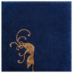 """Croi"" Limited Edition Blue, Gold, Silk and Irish Wool Rug by Rhyme Studio"
