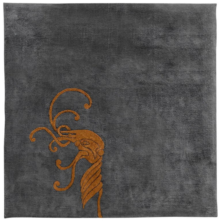 """""""Croi"""" Limited Edition Gold Silk, Grey Irish Wool Rug & Tapestry by Rhyme Studio For Sale"""