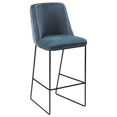 Counter Chair Croix with Lacquered Metal and Upholstery New