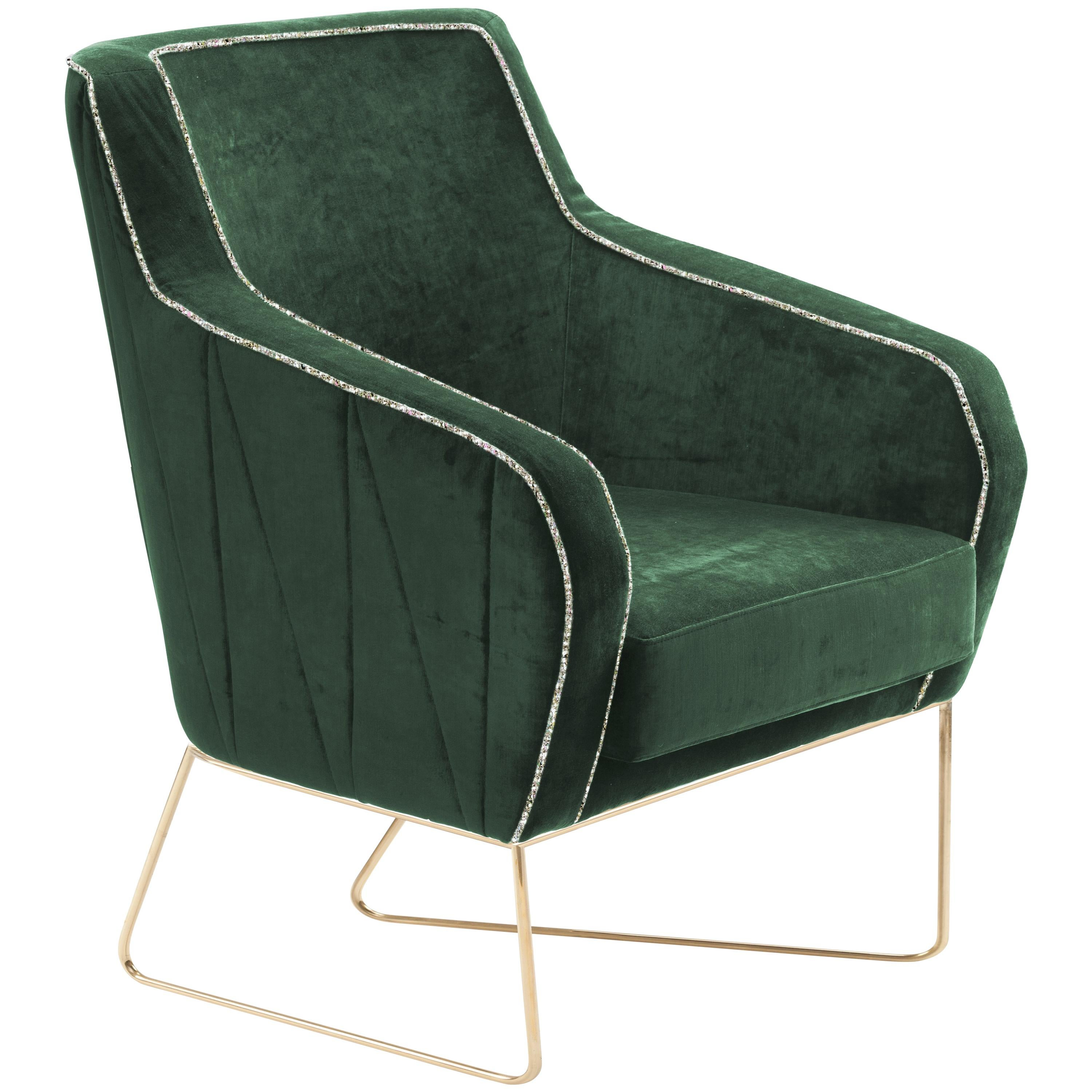 Croix I Armchair with Brass Feet