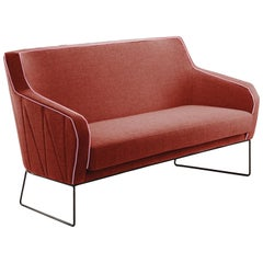 Croix Settee 2-Seat in Smooth Tobacco and Smooth Shell piping