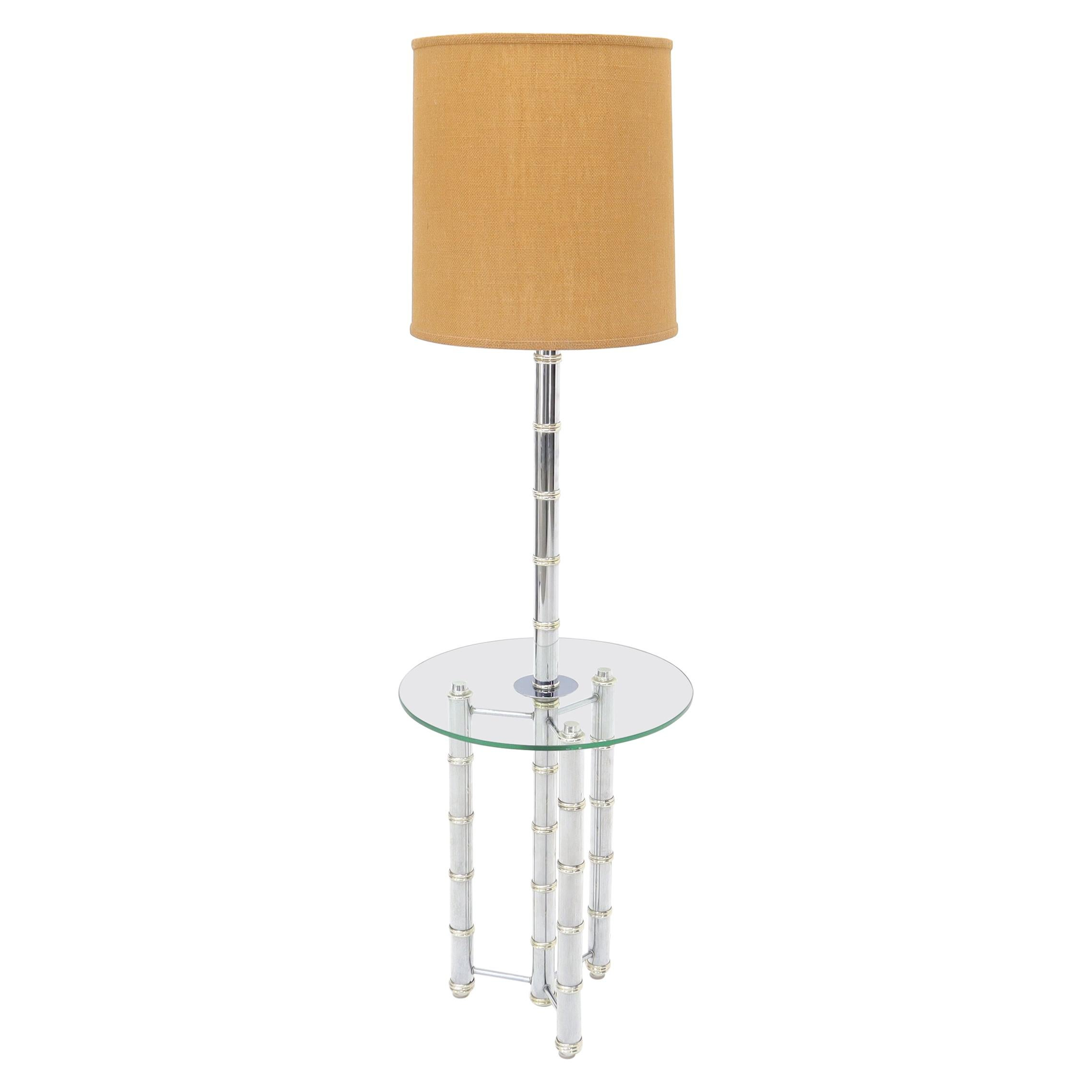 Crome and Brass Faux Bamboo Tripod Glass Side Table Floor Lamp