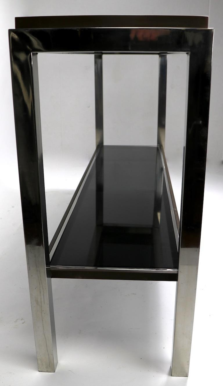 Chrome  Brass Bronze and Tinted Glass Two-Tier Console Signed Willy Rizzo For Sale 7