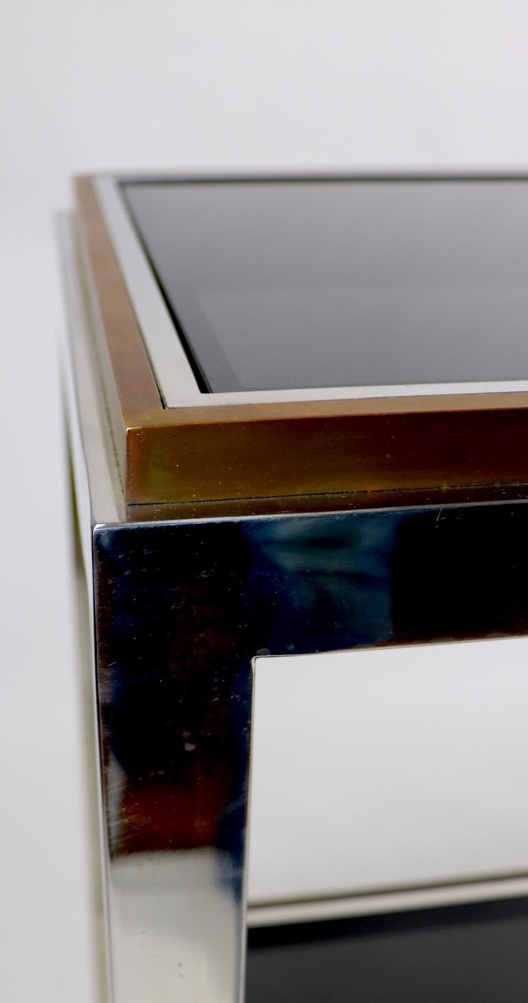 Chrome  Brass Bronze and Tinted Glass Two-Tier Console Signed Willy Rizzo For Sale 3