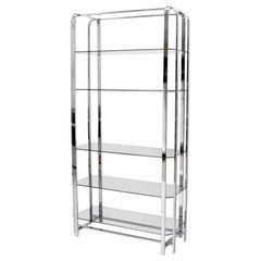 Crome and Smoked Bronze Glass Shelves Tall Display Étagère Vitrine