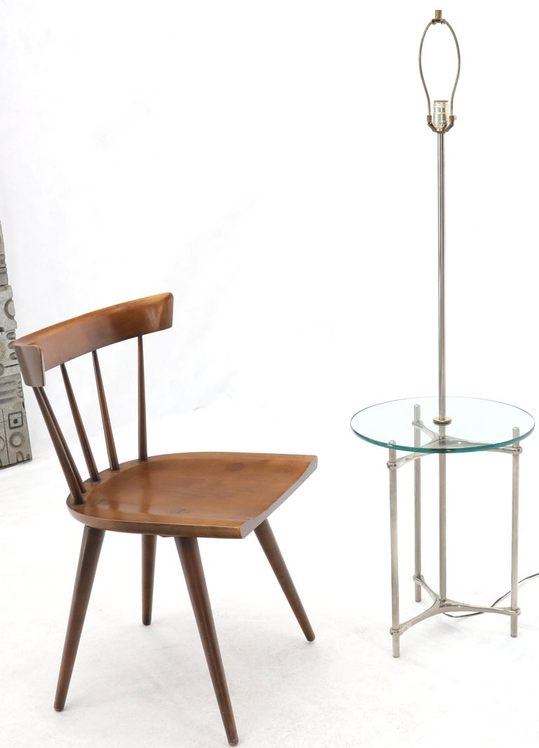 Mid-Century Modern round glass end table floor lamp.