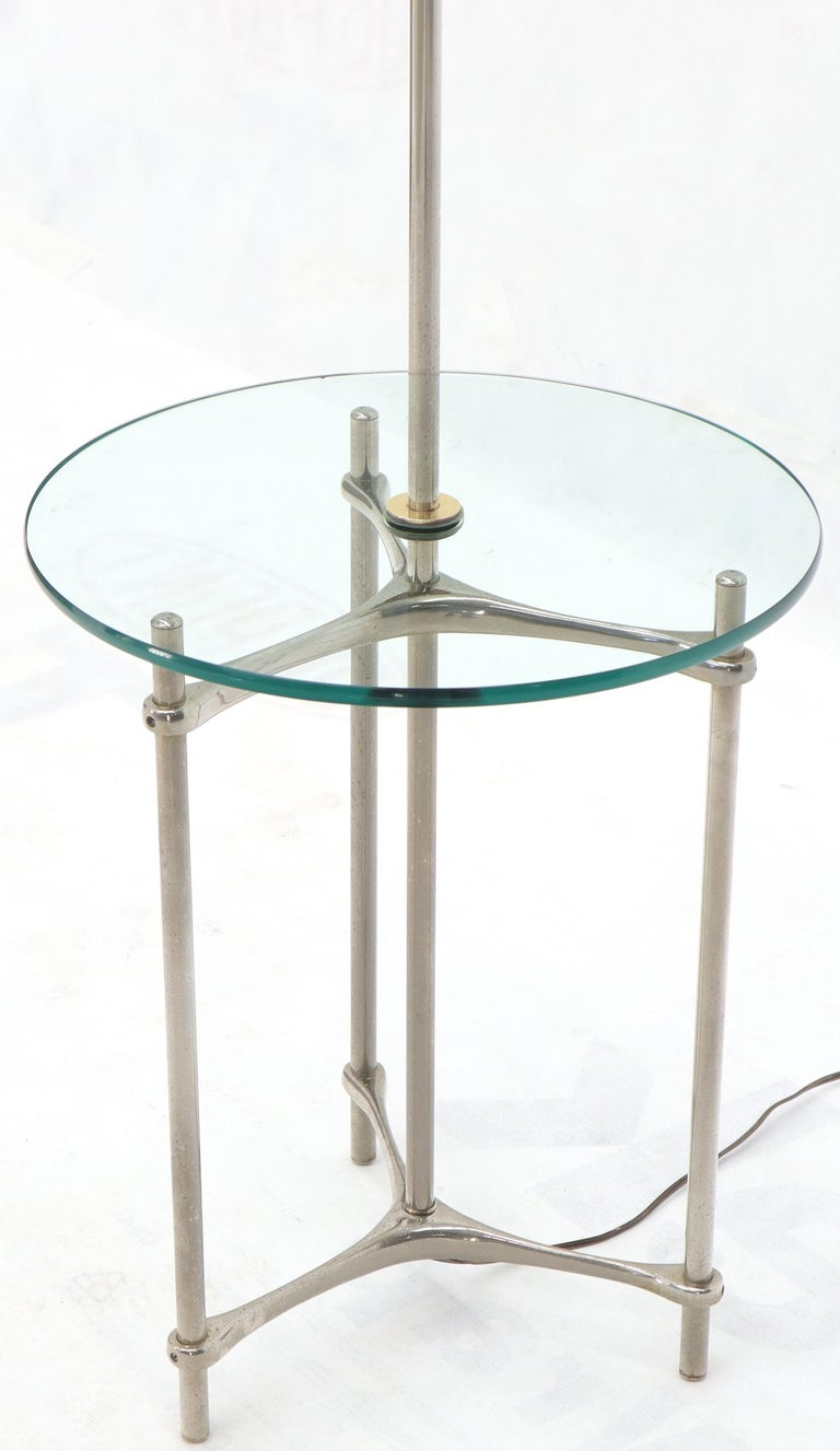 Mid-Century Modern Crome Tripod Base Glass Side Table Floor Lamp For Sale