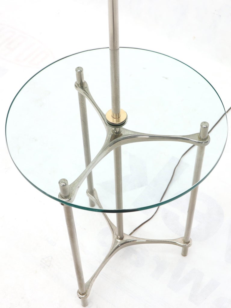 American Crome Tripod Base Glass Side Table Floor Lamp For Sale