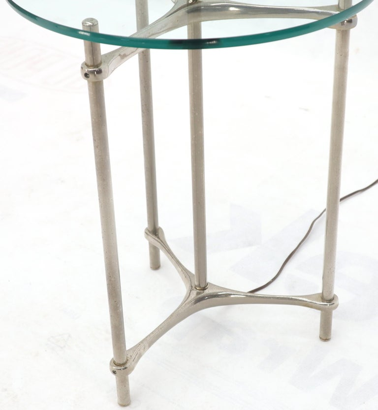 Crome Tripod Base Glass Side Table Floor Lamp In Excellent Condition For Sale In Rockaway, NJ