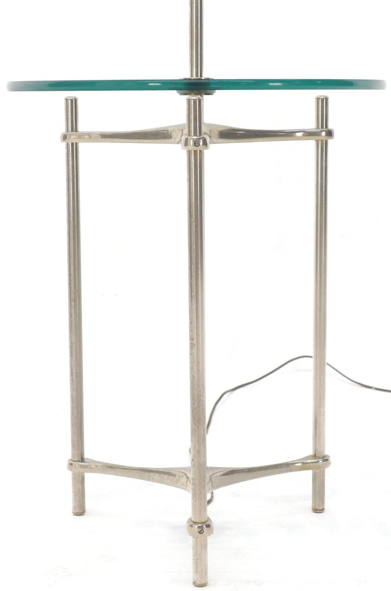 Crome Tripod Base Glass Side Table Floor Lamp For Sale 1