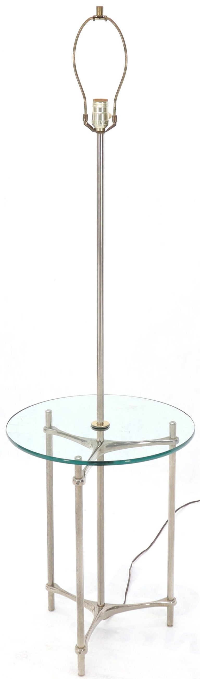 Crome Tripod Base Glass Side Table Floor Lamp For Sale 2