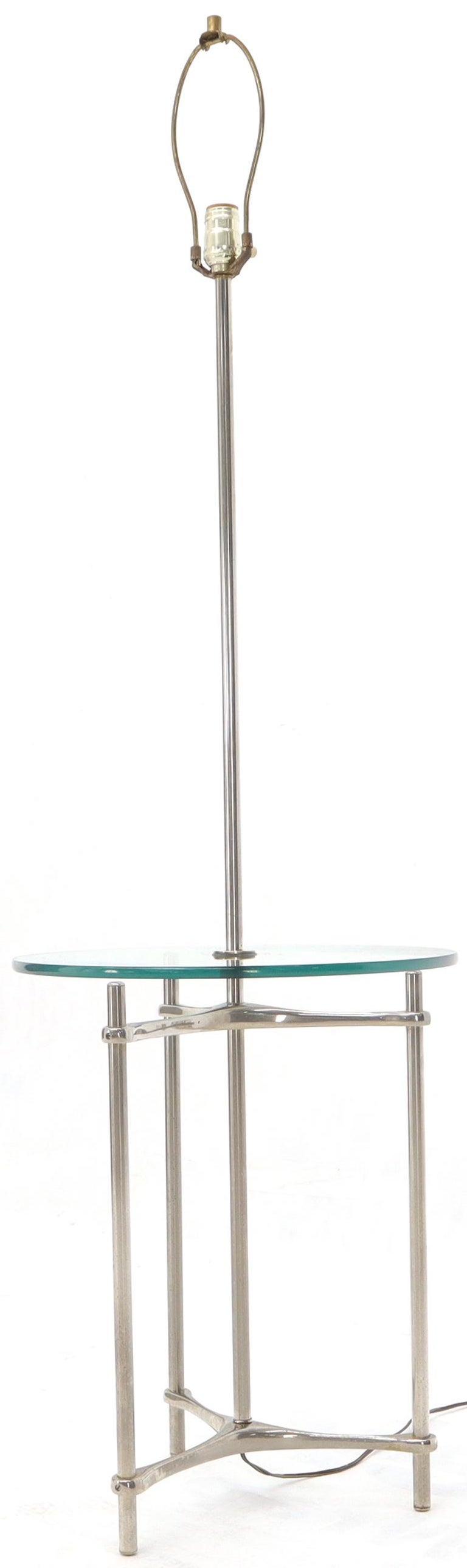Crome Tripod Base Glass Side Table Floor Lamp For Sale 3
