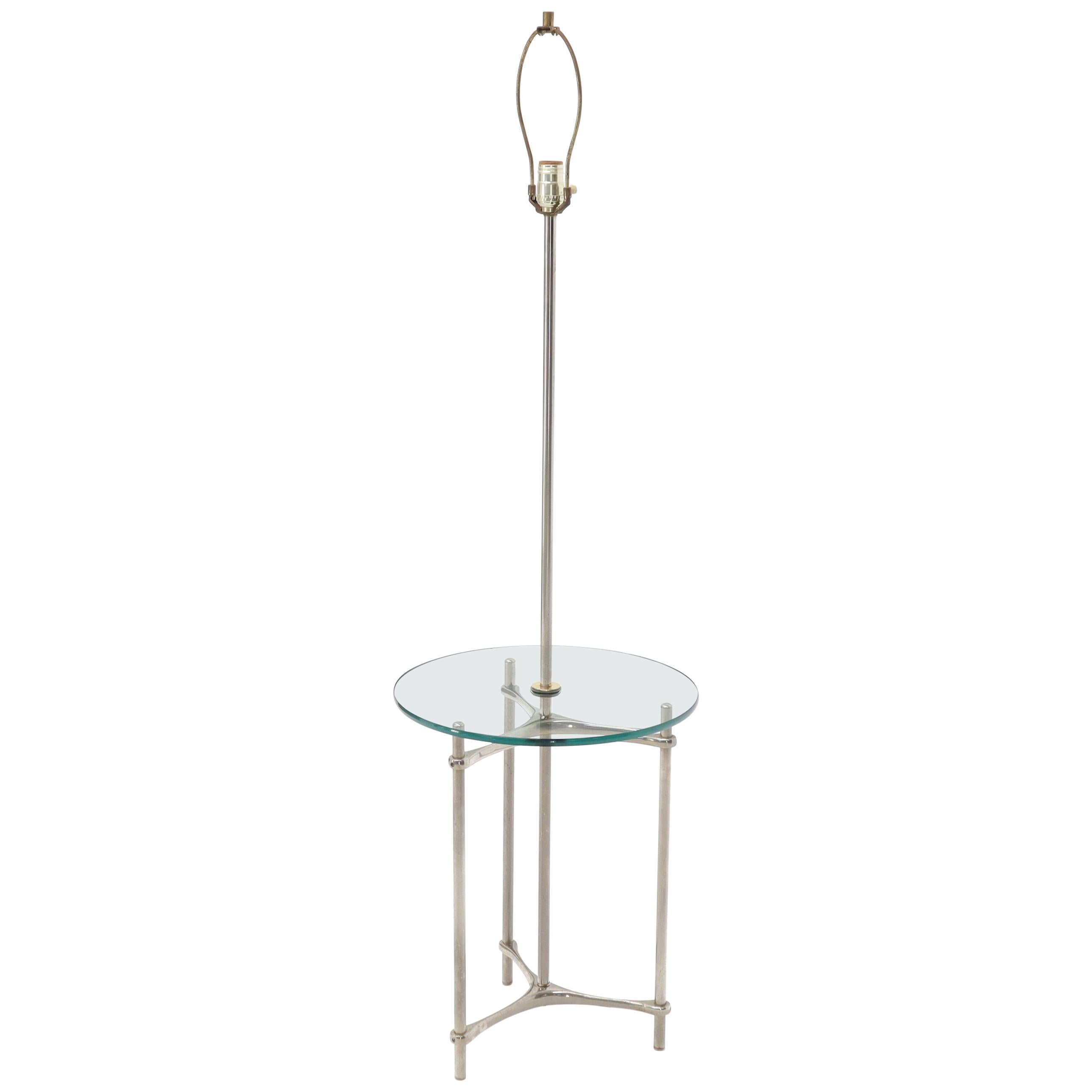 Crome Tripod Base Glass Side Table Floor Lamp