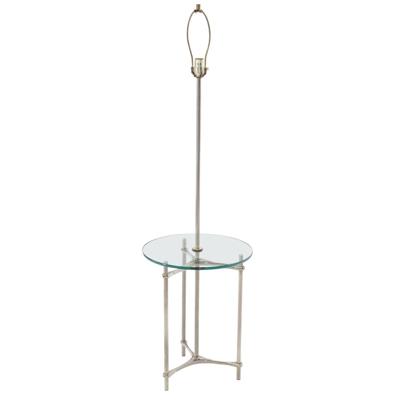 Crome Tripod Base Glass Side Table Floor Lamp For Sale