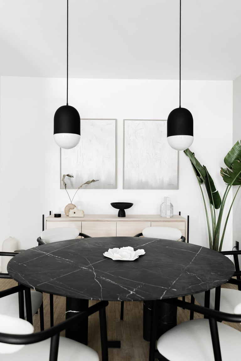 Mexican Cromlech Black Marble Dining Table For Sale