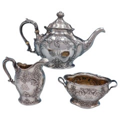 Cromwell by Gorham Sterling Silver Tea Set 3-Piece Art Nouveau with Flowers