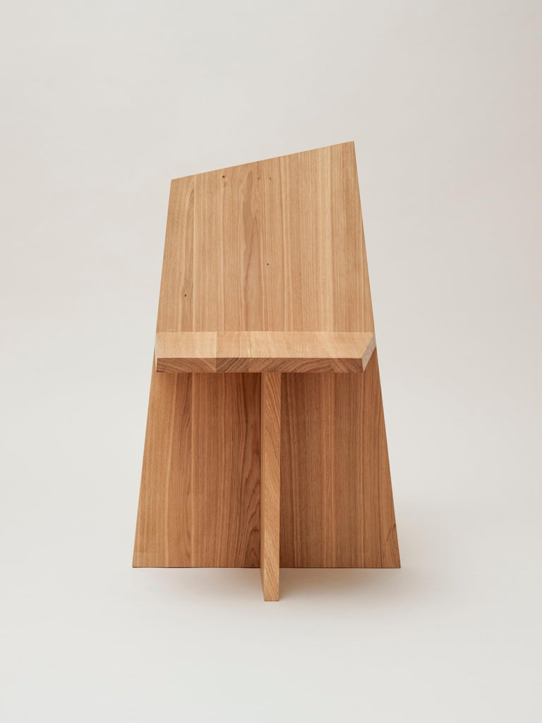 German Crooked Asymmetrical Dining Chair in Massive Oak with Oil Wax Finish For Sale