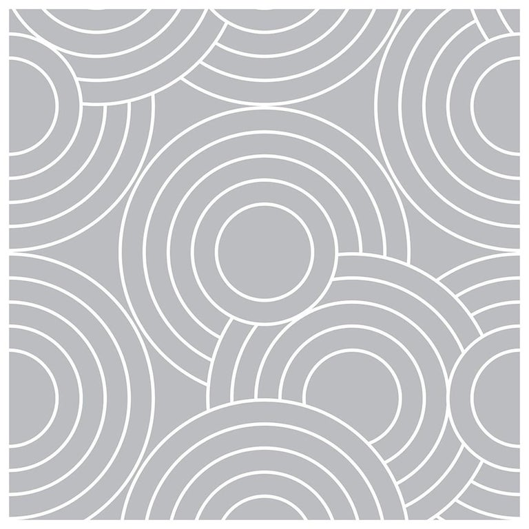 Crop Circles Designer Wallpaper In Color Tin Grey On White For