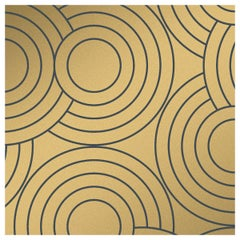 Crop Circles Designer Wallpaper in Eclipse 'Metallic Gold on Charcoal'