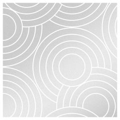 Crop Circles Designer Wallpaper in Glimmer 'Metallic Silver on White'
