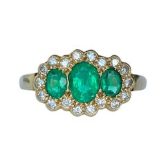 Crop & Farr Emerald and Diamond 18 Carat Gold Triple Cluster Ring